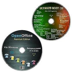OpenOffice Premium Edition + Ultimate Boot-CD / Ersthilfe & Notfall-CD [System-Diagnose- und Reparatur-Werkzeuge] für Windows Betriebssystemen 10-8-7-Vista-XP (32 & 64 Bit) (2 CDs Spar-Set)