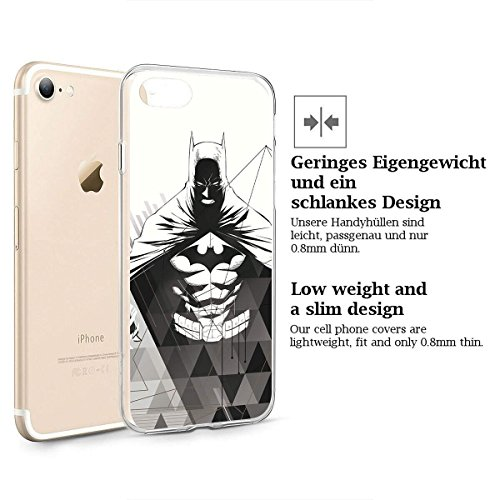 finoo | iPhone 8 Plus Weiche flexible Silikon-Handy-Hülle | Transparente TPU Cover Schale mit Motiv | Tasche Case Etui mit Ultra Slim Rundum-schutz |Batman Comic Close Up Batman Angry Close Up