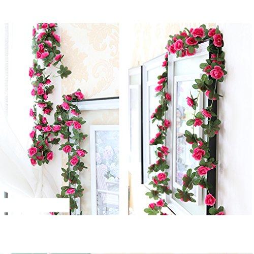Houda - pianta rampicante artificiale con rose, per decorare casa, hotel, ufficio, feste, matrimoni, giardino, progetti creativi, lunghezza 250 cm, rose red, 2 pezzi