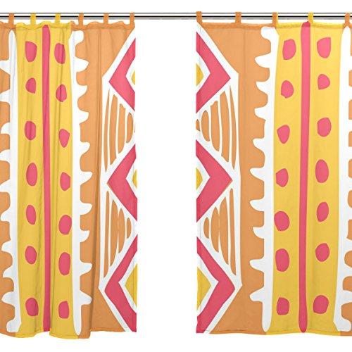 jstel Voile tenda di finestra stile vintage etnico, 2pezzi, motivo floreale, Tulle Sheer Curtain Drape Valance 139,7x 198,1cm Set di due pannelli