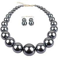 Semplice grande perla simulata dichiarazione collana orecchini set Faux Big Pearl girocollo goccia orecchini orecchini…