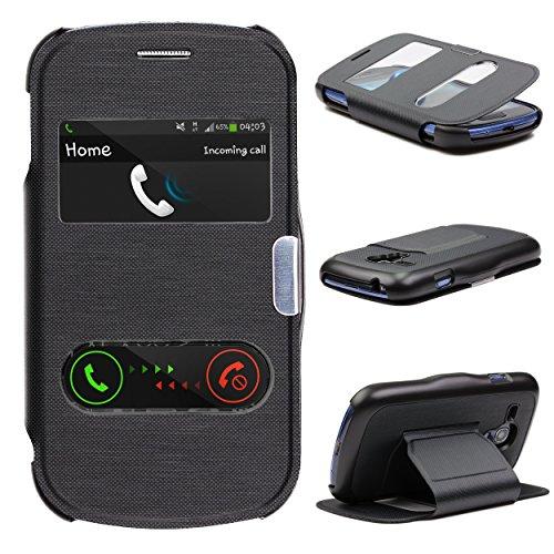 Urcover Custodia Portafoglio Galaxy S3 Mini, Wallet Cover [Funzione S-View] Cover Libro Chiusura Magnetica Rigida Samsung Galaxy S3 Mini 4 Pollici - Nero