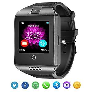 Bluetooth Smartwatch mit Kamera, wasserdicht, Smartwatch mit Touchscreen, Telefon, entsperrt, Smart-Armbanduhr für Android-Telefone, iOS, Smartphone, Herren, Damen, Kinder, Schwarz