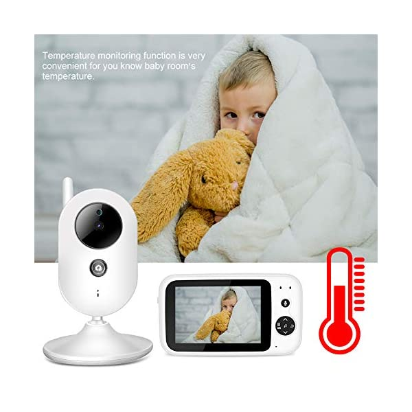 """SONEW Wireless Video Baby Monitor,3.5"""" LCD Digital Screen for Signal Transmission Support Night Vision Two-Way Talk Temperature Sensor Voice Activation Lullabies Multi-Language Sonew 【TEMPERATURE SENSOR】Constantly monitors the temperature in your baby's room and alerts you when it is too hot or too cold.When you find that the temperature of your baby's room is too high or too low, you can add a bedding or reduce the bedding to your baby in time to prevent your baby from getting sick due to temperature. 【TWO-WAY TALK】Built-in advanced microphone and speaker for clear two-way audio conversations. Not only can you see what's happening, but also send voice commands, and talk with your little one. Transmitting distance is up to 1,000 ft.Parents must hope to witness each stage of their child's growth. Talking is a very important stage. With this product, you can communicate with your baby at any time, hear your baby's voice, and witness your baby's growth. 【SOUND-ACTIVATED LED LIGHTS 】Allows you to see how much noise your baby is making in case he/she is crying.You must hope to stay with your baby all the time, but because of work or some other reason, you may not be able to stay with your baby all the time, but with this product, you can observe every detail of the baby, once the baby is crying You can find it by activating the LED light. 6"""