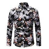 NPRADLA 2018 Shirt Herren Slim Fit gedruckt Langarm bulliger Muskel grundlegende Feste Bluse T Shirt Top