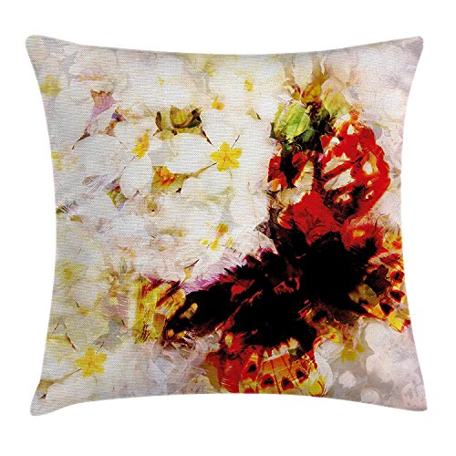 Butterfly Garden Seat (JIMSTRES Paisley Decor Throw Pillow Cushion Cover, Flower Garden with Orchids Roses Jasmines and Butterflies Abstract Decor, Decorative Square Accent Pillow Case,Multicolor 16X16 inches)