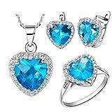 Epinki, Chapado en Platino Moda Joya Juego Colgante Collar Anillos Pendientes Azul Corazones Zircón El Tamaño 20
