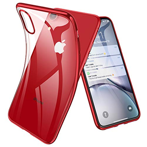 Joyguard für iPhone XR Hülle, iPhone XR Handyhülle mit Panzerglas Leicht TPU Durchsichtig Weiche Silikon Plating Überzug Bumper Schutz - Rot