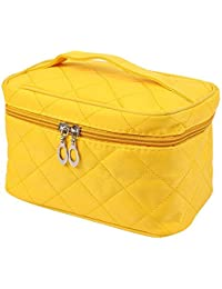 SODIAL(R)Portable Waterproof Multifunction Cosmetic Bag Portable Thicker Diamond Lattice Makeup Bag Case Yellow S