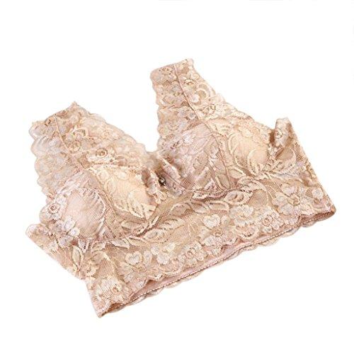 Demi-tangas (Amlaiworld damen Elastischer Blumen Spitze BH Schöne elegant Unterwäsche bunt Yoga sport bh für Mädchen (XXL, Beige))