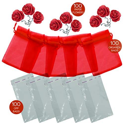Giuviro® 100 sacchetti organza 7x9cm 100 bustine plastica trasparenti 100 fiori bomboniere gioielli confetti caramelle riso compleanno nascita bambini battesimo matrimonio comunione laurea (rosso)