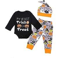 Ropa Bebe niña Talla 8,(6M-24M) Bebé de Manga Larga de Halloween Carta Impreso Lace + Pants + Hat Set,Negro,70,80,90,100