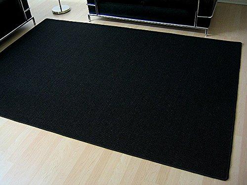06 Läufer Teppich (Sisal Natur Teppich Astra Schwarz in 22 Größen)
