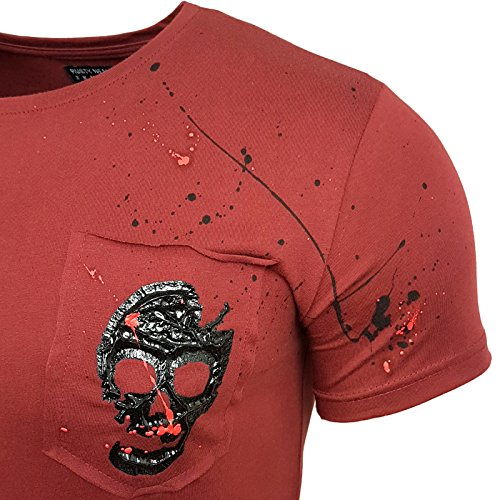 HERREN T-Shirts Druck Größe S M L M XL XXL kurzarm Text RN15100 Bordo