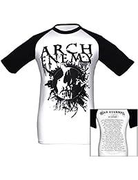 Arch Enemy, Baseball T-Shirt, Skull schwarz weiß Tour