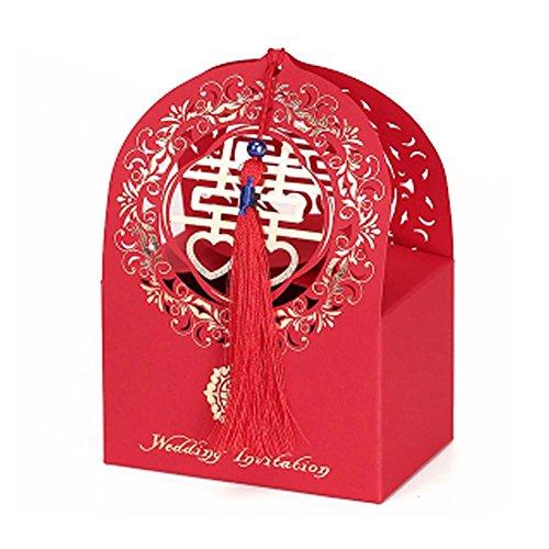 Panda Legends 10 Stücke Red Laser Cut Chinesischen Stil Hochzeit Pralinenschachtel Dekorative Leckereien Boxen Cookies Pralinenschachtel Für Hochzeit