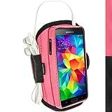 igadgitz Wasserabweisend Pink Sports Jogging Armband Laufen Fitness Oberarmtasche für Samsung Galaxy S5 SV SM-G900