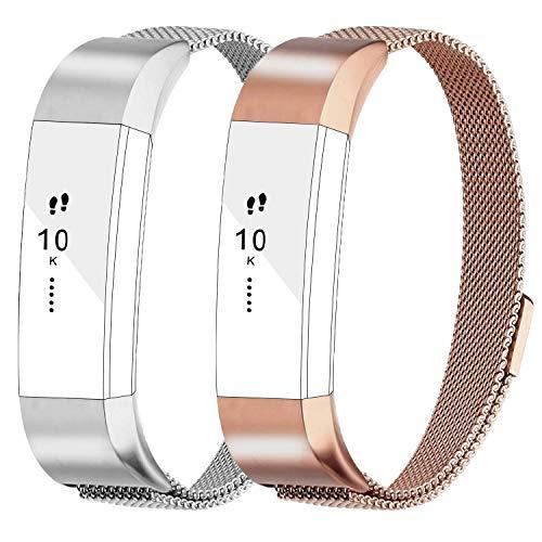 AdePoy Ersatzarmbänder Kompatabel Für Fitbit Alta und Alta HR, Milanese Edelstahl Metall Armband für Fitbit Alta/Alta Hr