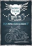 Glückwunschkarte zum Geburtstag Chalkboard * Motorrad * Born to be wild