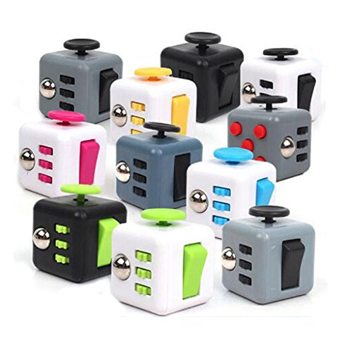 HMILYDYK 6-Sides Fidget Cube Relieves Stress and Anxiety Attention Toy for Children and Adults(Black and Green) -