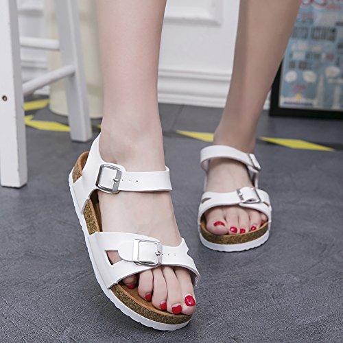 SK Studio Damen Offen Sandale Cork Mädchen Sandaletten Flach Pantoletten Weiß