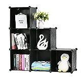 BASTUO Storage Cube Organizer Plastic 6-Cube DIY Modular Storage Cabinet Portable 3-Tier Bookcase