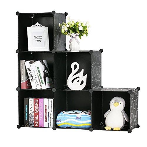 Organizador de cubo de almacenamiento de plástico de 6 cubos, armario de almacenamiento modular portátil, estantería de 3 niveles, color negro con martillo de madera