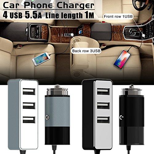 Auto Ladegerät, 120W 12V/24V USB KFZ Ladegerät 5.5A 4 USB Ports Multi-Funktion Power Auto Adapter mit 3-Fach KFZ Zigarettenanzünder Verteiler Splitter für iPhone, Samsung, GPS und mehr (Schwarz)