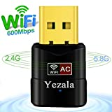 USB Wifi Adapter AC600Mbps, Yezala Wlan Stick Dual Band 2.4GHz / 5GHz USB Wifi Dongle Wireless Network Wlan Adapter Netzwerkkarte für PC Desktop mit Windows 10 / 8.1 / 8 / 7 / Vista / XP / 2000 / Mac Os X 10.4-10.12.1