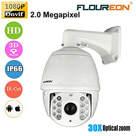 FLOUREON PTZ CCTV IP Camera 1080P ONVIF Outdoor Dome Camera 2.0 Megapixel 30X ZOOM IP66 Waterproof 360°Pan/ 93°Tilt Night Vision to 50 Meters/ Motion Detection Email Alarm with Snapshot/ 3D positioning/ Wired