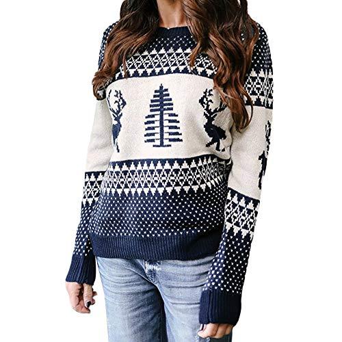 Elecenty Christmas Pullover Bluse Tops Damen Weihnachten Blumen Drucken Langarm Sweatshirt Cute Hemd Mantel Weihnachtspullover Rentier Fashion Pulli warme Elegante T-Shirt -