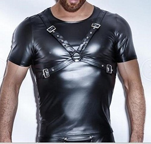 Western-Stil Männer Sexy Sexy Unterwäsche Muskel-Shirt, Nachtclub Bühne Performance Lackleder Eng Anliegende Weste (Einschließlich Körper Mit),Schwarz,XXL