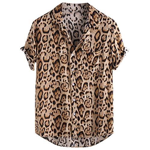 HucodeVan - Hombre Camisa Hawaiana Leopardo Estampadas Tops Solapa Manga Corta Vacaciones Fiesta Playa Sueltas Blusas Vintage Estilo étnico Moda Casual para Ropa Hombre Tops