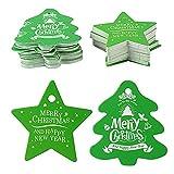 100 Stück Weihnachten Geschenkanhänger Kraftpapier Etiketten Tags Geschenk Tags Anhänger Hängeetiketten für WeihnachtenPapiertüten Weihnachtsverpackung Gastgeschenk