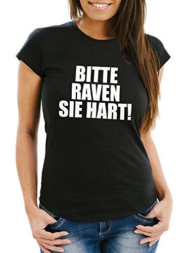 Damen T-Shirt - Party Feiern Spruch Shirt Techno - Bitte Raven Sie Hart! - Comfort Fit MoonWorks® Schwarz
