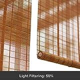 Tende a Rullo Ciechi di bambù Roller per Finestra, 50% di Filtraggio della Luce Plissé Ombreggiato Privacy Drappo Sistema di Sollevamento dello Schermo (Colore : Hook up, Dimensioni : 45x80cm)