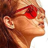 HLHN Damen Vintage Retro Mode Clubmaster Cateye Sonnenbrille Marke Classic UV-Süßigkeit farbige Gläser Reise-Sonnenbrille (Rot)
