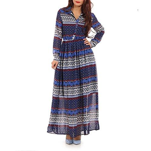 La Modeuse - Robe longue munie d'un imprimé baroque Bleu