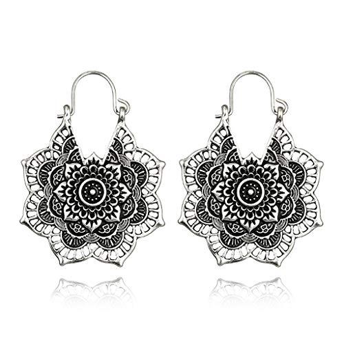 Landum orecchini geometrici, gioielli classici etnici tibetani in argento con fiore a forma di orecchino cavo uncinato - argento