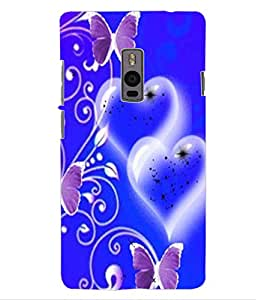 ColourCraft Heart and Butterfly Design Back Case Cover for ONEPLUS TWO