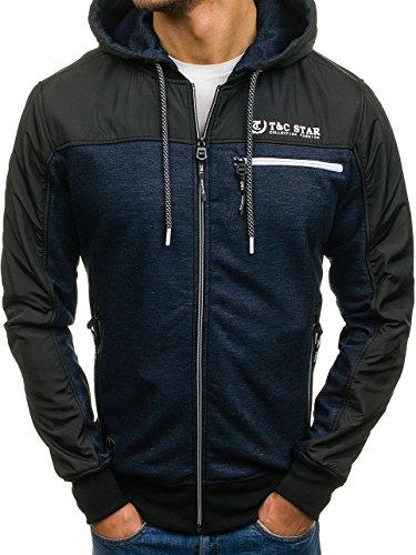 BOLF – Felpa con cappuccio – Collo alto – Logo – Con zip – Uomo [1A1] Blu