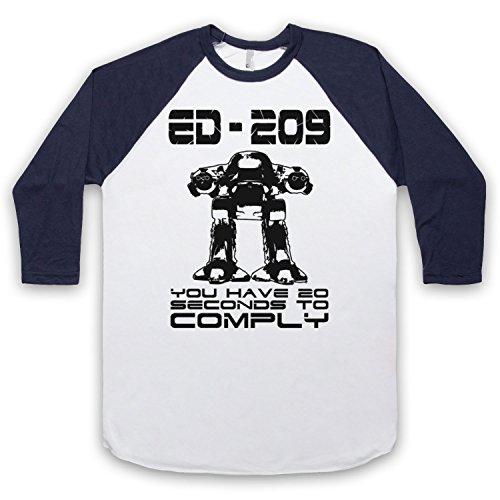 Inspiriert durch Robocop ED 209 Unofficial 3/4 Hulse Retro Baseball T-Shirt Weis & Ultramarinblau