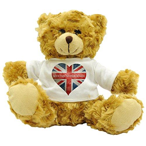 FaceOn Teddies Love Weston-Super-Mare Union Jack, Herz-Design, Plüsch, Teddybär, Geschenk (ca. Höhe: 22 cm - Weston Place