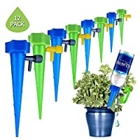 ‏‪Plant Waterer, Lesgos Self Watering Spikes System With Slow Release Control Valve Switch, Automatic Vacation Drip Irrigation Watering Devices Care Your Indoor & Outdoor Home Office Plants, 12 Pack‬‏