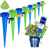 Hamkaw 12 Pack Adjustable Self Watering Spike Slow Release Plant Waterer Automatic Garden Plants Drip Irrigation System Vacation Plant Watering Spikes for Indoor & Outdoor
