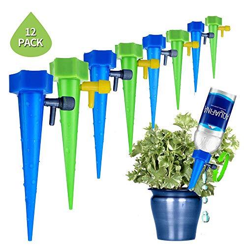 Hamkaw 12 Stück verstellbare selbstbewässernde Erdspieße für den Garten, automatische Tropfbewässerung System für Urlaub, Pflanzen Bewässerung für Innen und Außen