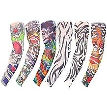 Set 6 Piezas Mangas Tatuajes Falsos por Kurtzy - Mangas Tatuajes Arte Temporal Hombres y Mujeres - Arte Corporal Brazos Completos - Mangas de Aspecto Real - Diseño Tribal y Más - Accesorio Deslizable