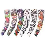 Ensemble de 6 Manches de Faux Tatouages par Kurtzy - Tatouages Artistiques Temporaires Homme et Femme - Chaussettes de Bras Body Art - Accessoires à Enfiler - Apparence Réelle - Modèles Tribales et Pl