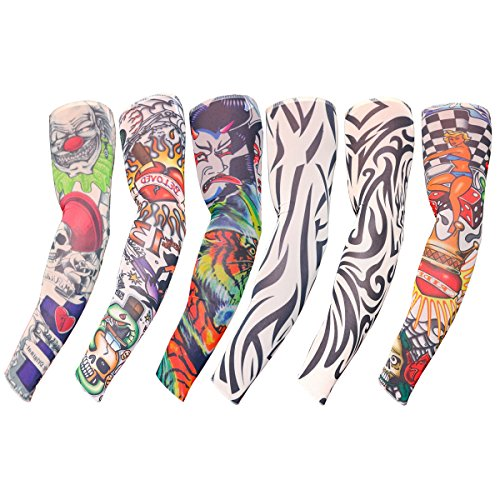 6-tlg. Set aus Falschen Tattoo Ärmeln von Kurtzy - Kunst Tattoo-Ärmel für Damen und Herren - Körperkunst Armstrümpfe - Überzieh Accessoires - Echt Aussehende Ärmel - Tribale Designs und (Kostüme Frau Joker)