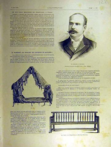 Old Original Antique Victorian Print 1891 Navarro Portugal Napoleon Bed Bench French 22Lil1